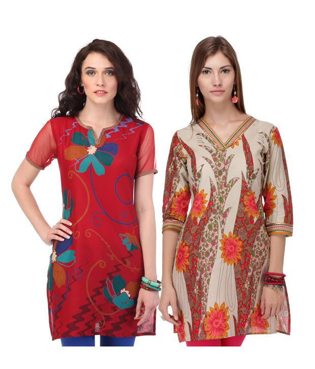 Yepme Floral Red & Beige Ethnic Kurtis Combo
