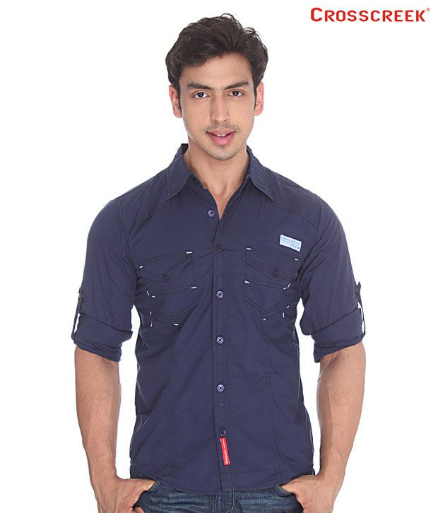 Crosscreek Navy Blue Cotton Shirt