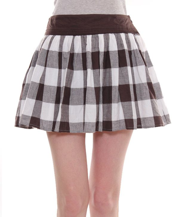 Tania Loond Brown-Grey Checkered Print Cotton Skirt
