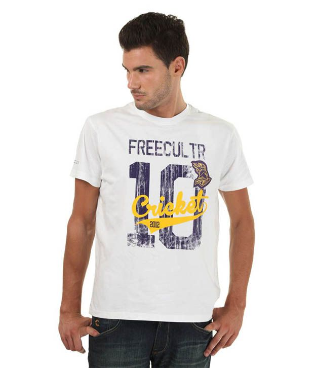 FREECULTR White Cotton Round T Shirt
