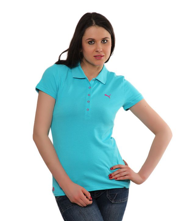 0ffc10f0 Buy Puma Tiffany Blue Cotton Polo T-Shirt Online at Best Prices in India -  Snapdeal