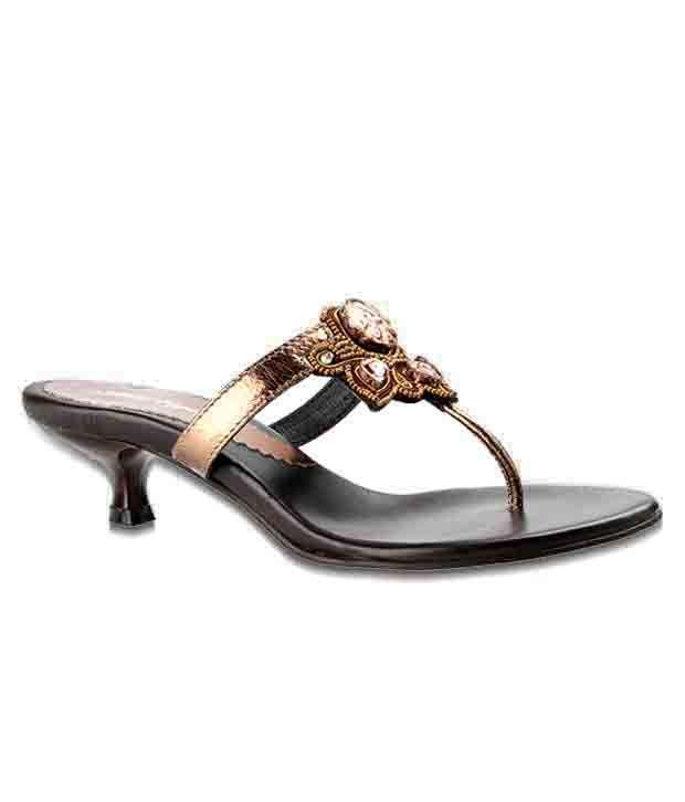Salt 'n' Pepper Distinct Bronze Slip-on Heels