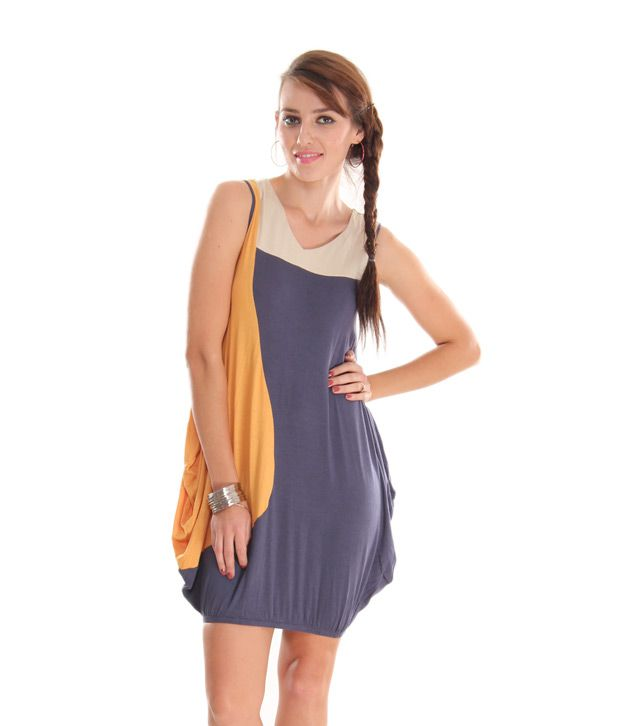 AND Mustard-Blue Colour Block Elasticated Dress