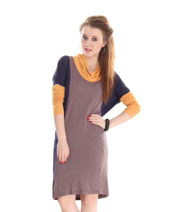 AND Mustard-Brown Colour Block Dress