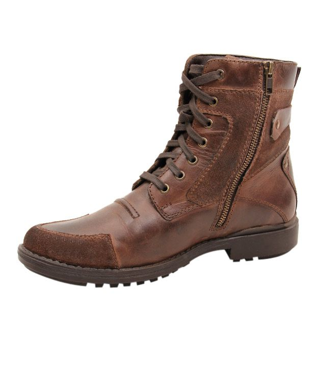 Delize Rugged Brown High Ankle Boots - Buy Delize Rugged Brown ...