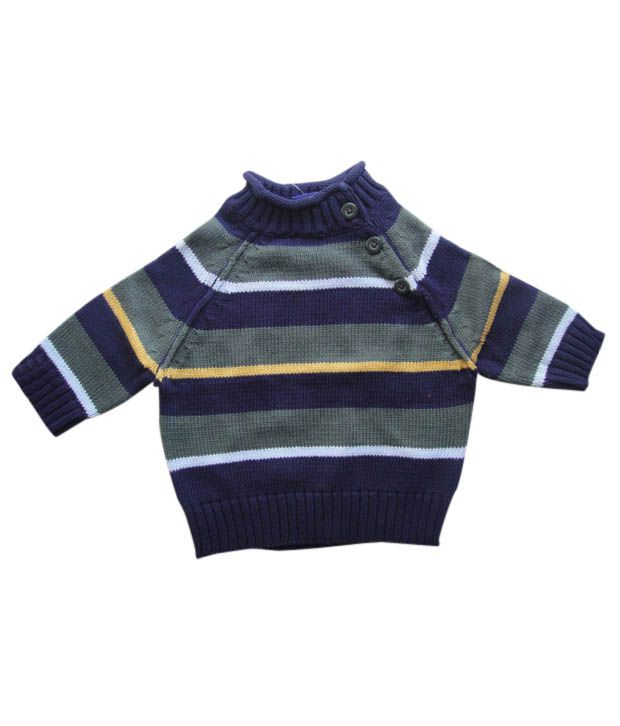 Luck by Chance Navy Blue Striped Sweater - Buy Luck by Chance Navy