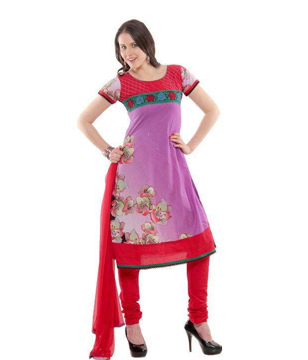 Span Purple Printed Cotton Stitched Suit With Dupatta