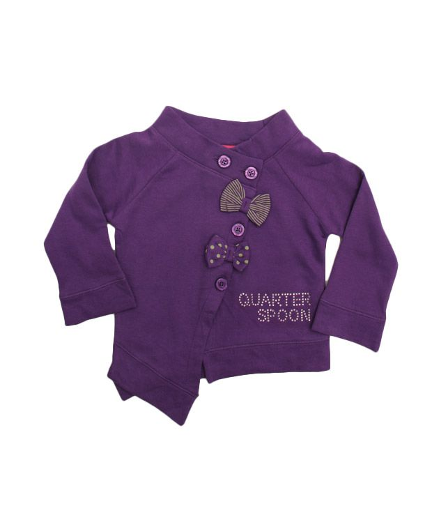 Quarter Spoon Vibrant Purple Boat Neck Jacket For Kids