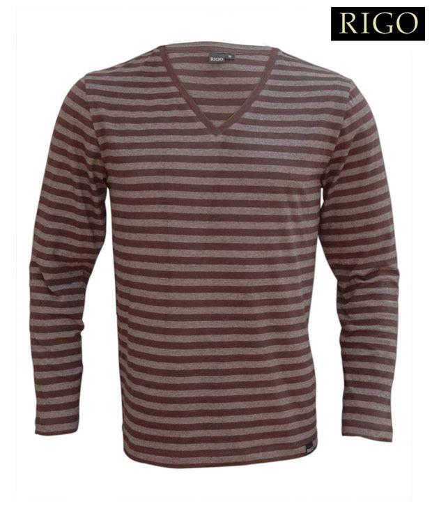 Rigo Brown Striped V-Neck T-Shirt