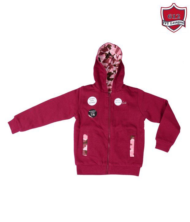612 IVY League Wine Red Hooded Sweatshirt For Kids