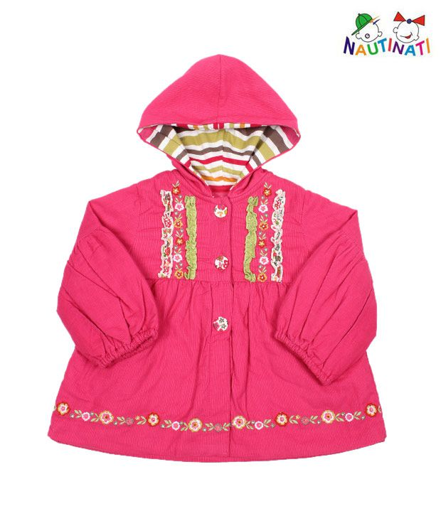 Nauti Nati Cute Pink Hooded Jacket For Kids