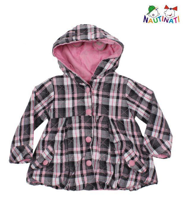 Nauti Nati Pink & Grey Reversible Jacket For Kids