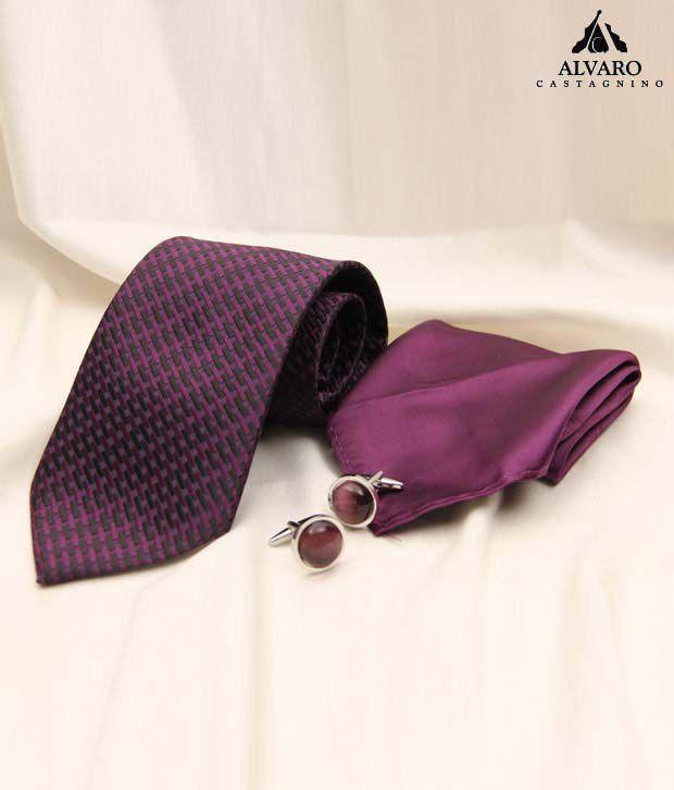 Alvaro Violet Contemporary Necktie, Cufflinks & Handkerchief Gift Set