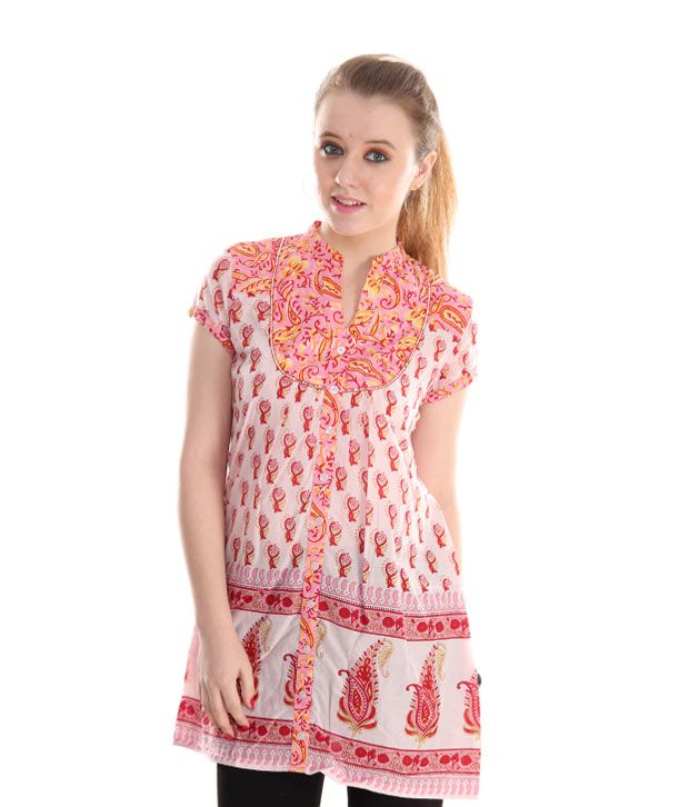 Global Desi White-Pink Printed Cotton Tunic