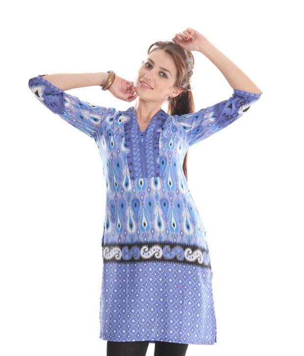 Global Desi Blue Printed Kurti
