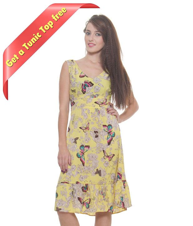 Frolic Butterfly Print Yellow Dress With Freebie Top