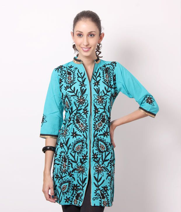 Shree Aqua Blue-Black Cotton Kurti