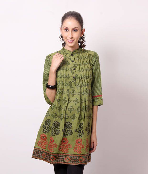 Shree Enchanting Mehndi Green Cotton Kurti