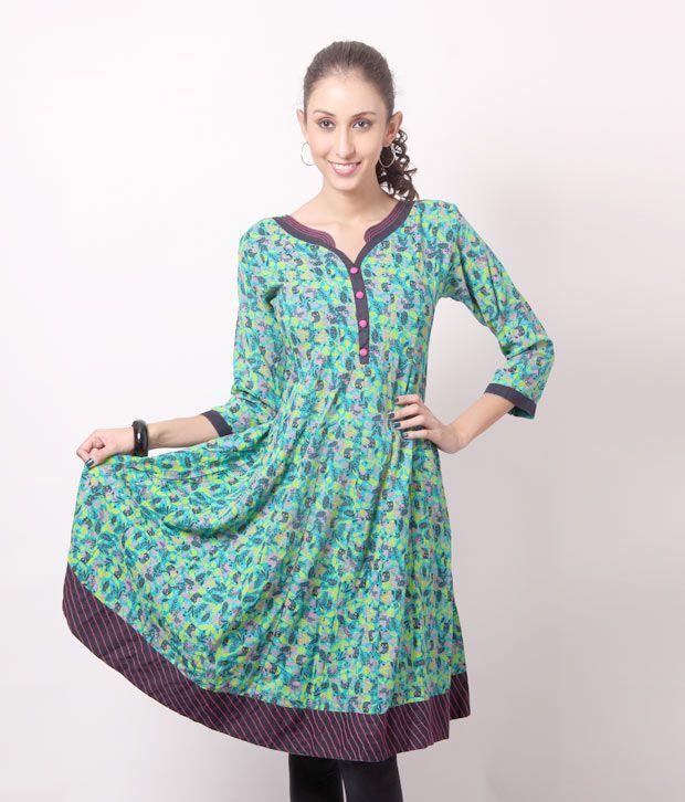 Shree Gorgeous Green Anarkali Cotton Kurti