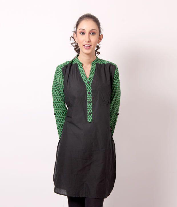 Shree Perky Black-Green Cotton Kurti