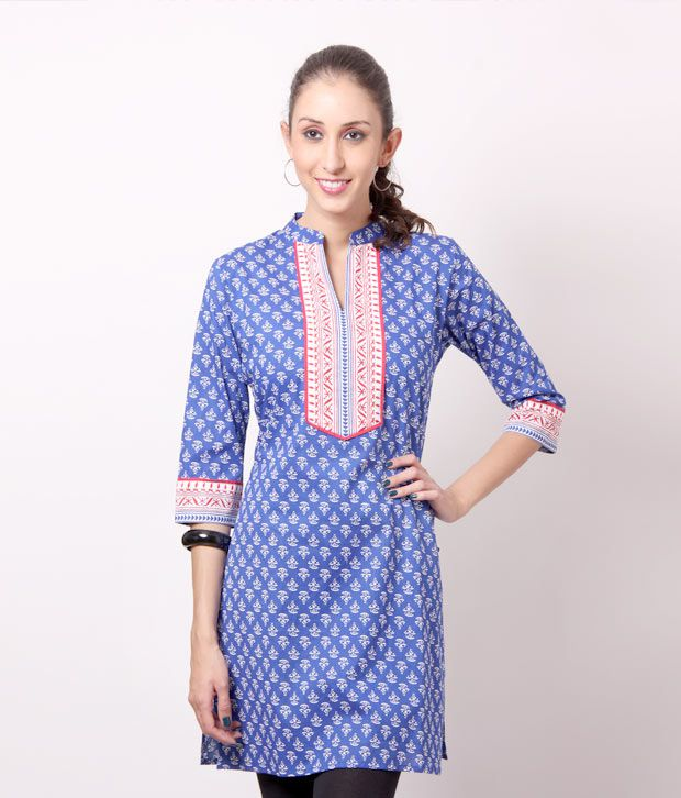 Shree Vibrant Blue Cotton Kurti