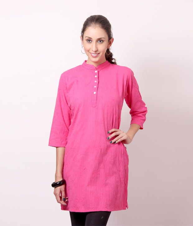 Shree Fuchsia Pink Cotton Kurti