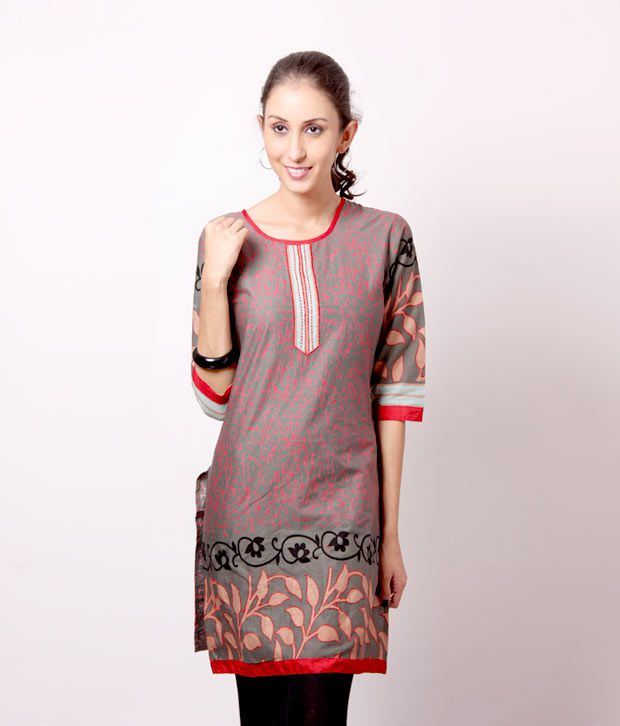 Shree Maroon-Green Cotton Kurti