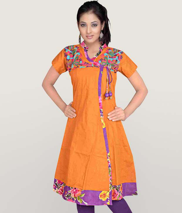 Aaneri Awesome Mustard Cotton Kurti