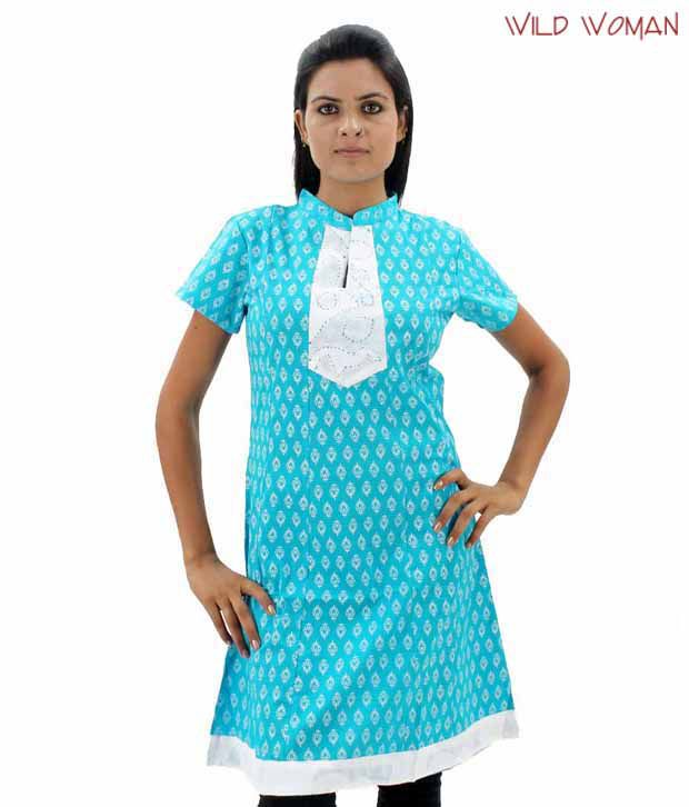 Wild Woman Aqua Blue Cotton Kurti