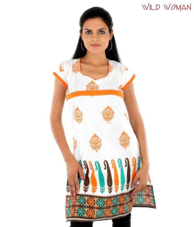 Wild Woman Stylish White-Orange Cotton Kurti