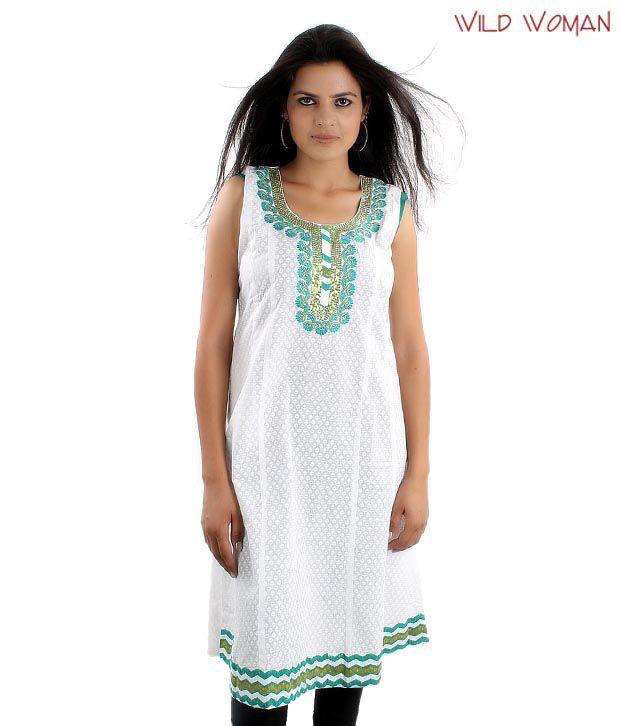 Wild Woman Fancy White-Blue Cotton Kurti