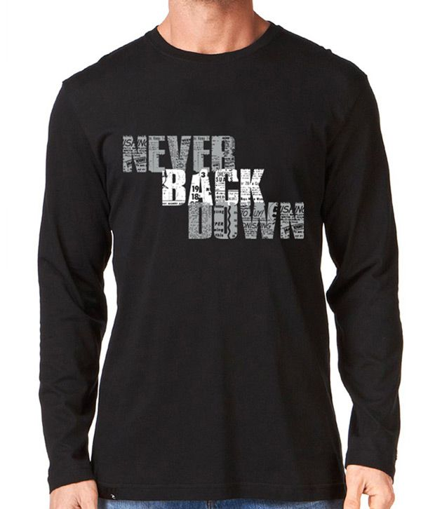 Rigo Black Never Back Down Full Sleeves T-Shirt