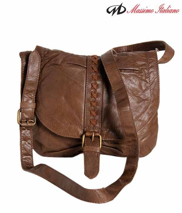 Massimo Italiano Brown Criss-Cross Leather Sling Bag - Buy Massimo ...