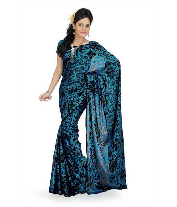 Designersareez Turquoise Blue-Black Brasso Printed Saree
