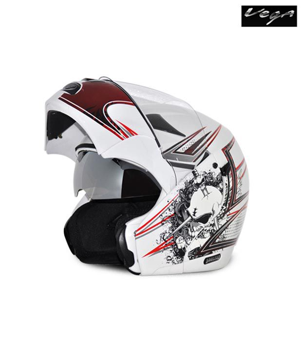 Vega Helmet - Boolean Graphic (White Base with Red Graphics)