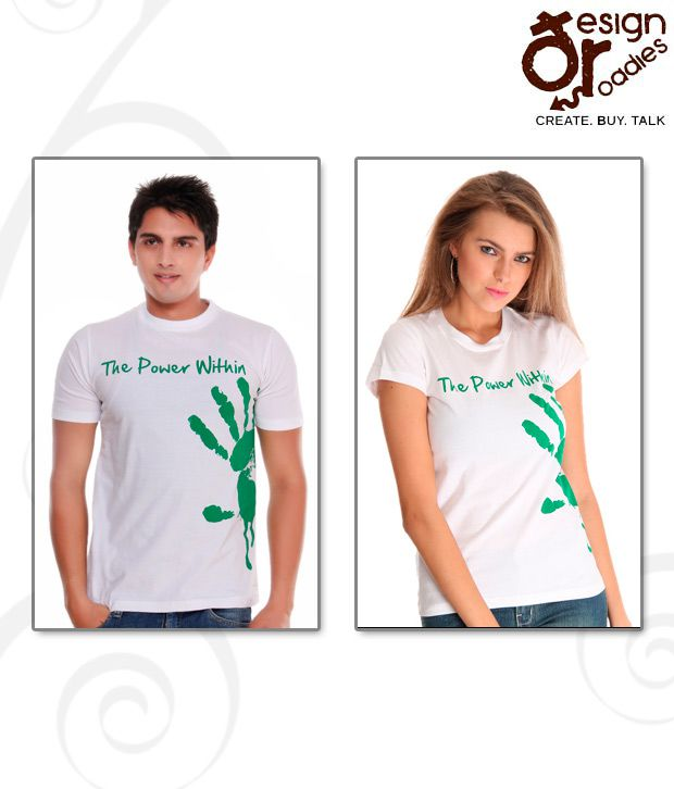 Design Roadies The Power Within White T-Shirt Pack of 2