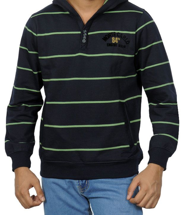Monte Carlo Navy Blue & Green Hooded T-Shirt