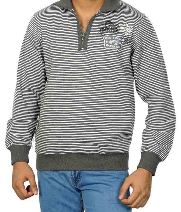 Monte Carlo Grey & White Stripes T-Shirt