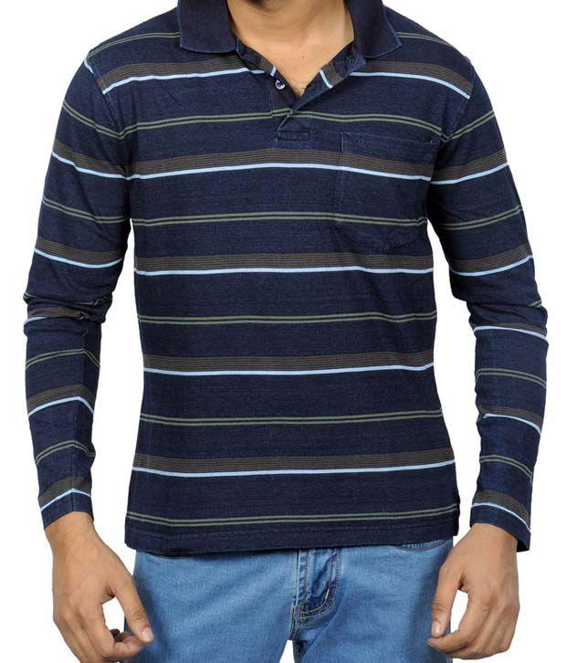 Monte Carlo Blue & Brown Stripes T-Shirt