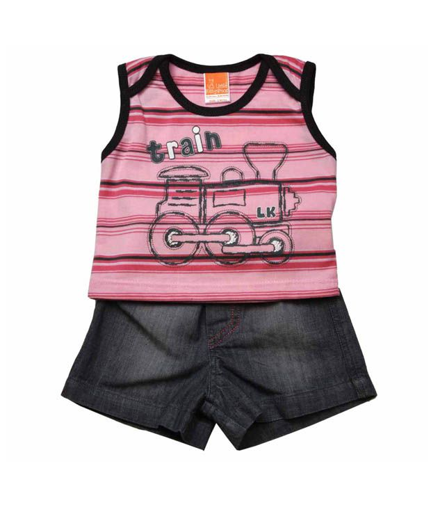 Little Kangaroos Pink Train T-Shirt & Grey Shorts For Kids
