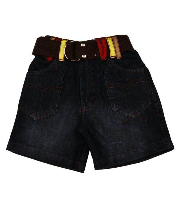 Little Kangaroos Black Denim Shorts For Kids
