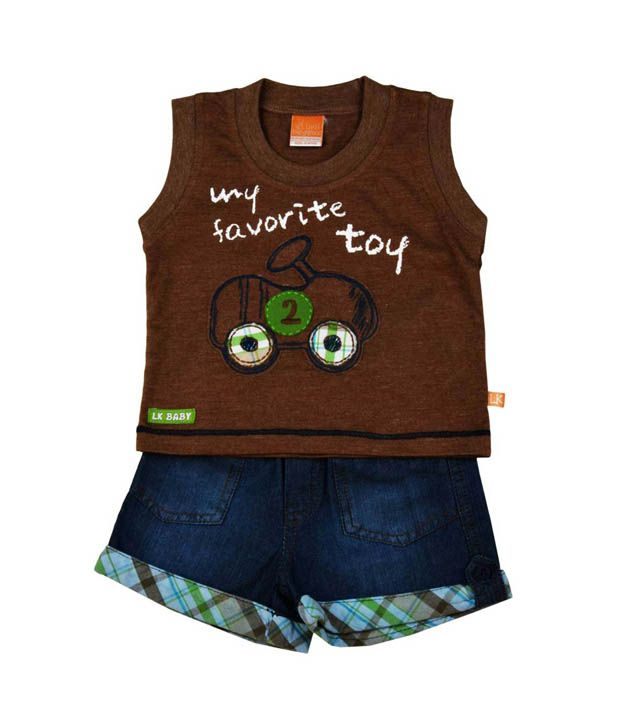 Little Kangaroos Brown Tank Shirt & Blue Denim Shorts For Kids