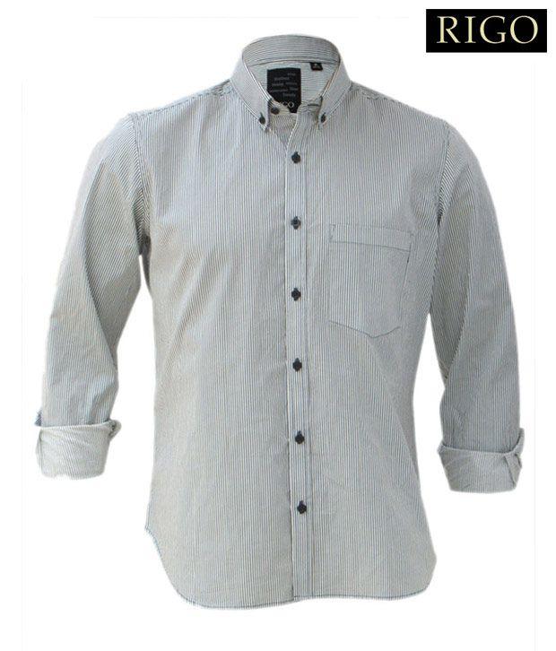 Rigo Green & White Stripes Shirt
