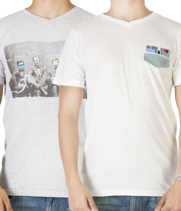 Dirty Laundry White & Grey Pack of 2 T-Shirts