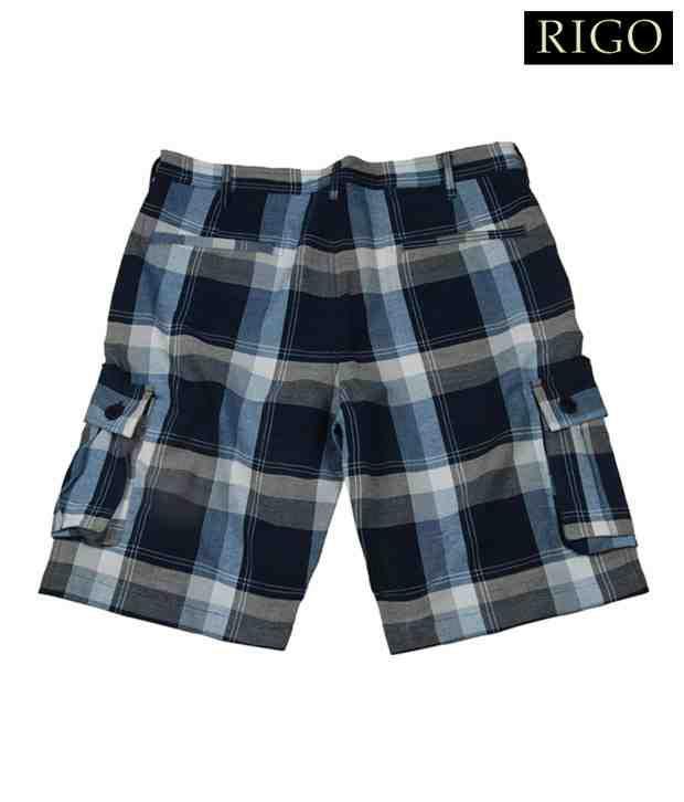 Rigo Blue Checks Shorts