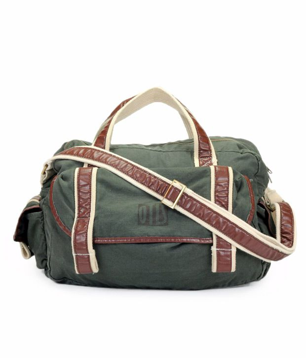 OTLS Military Green & Brown Front Pocket Duffle Bag
