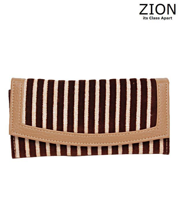 Zion Brown & Fawn Stripe Pattern Wallet