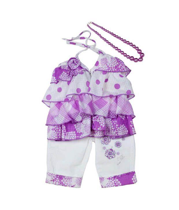 Little Kangaroos Purple Ruffle Top & White Capri For Kids
