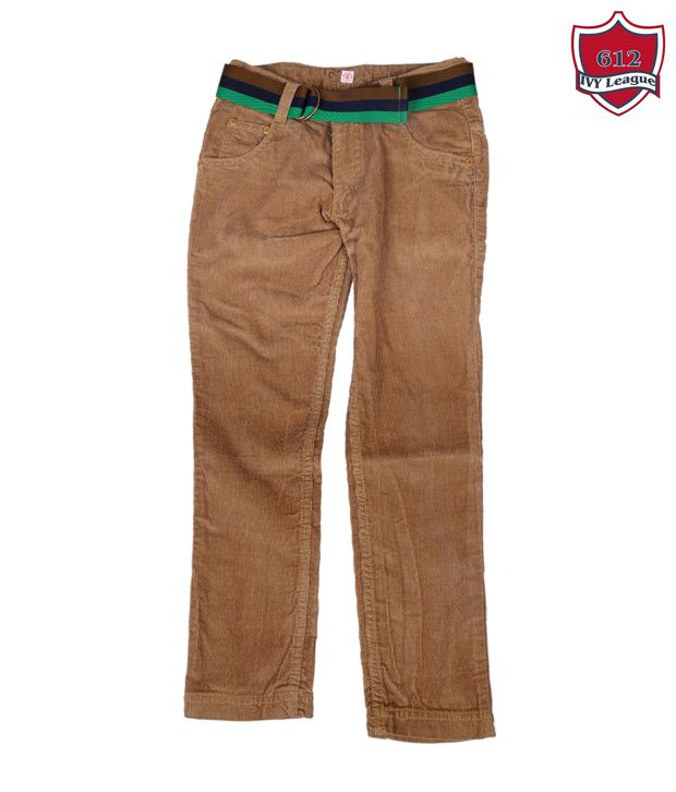 612Ivyleague Smart Brown Cotton Trouser