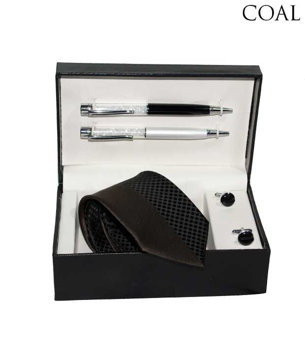 Coal Combo set of Striped & Dotted Necktie, Two Pens & Black Round Cufflinks